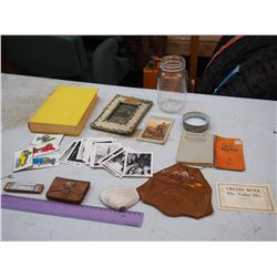 Lot Of Vintage Misc, (Leather, Pictures, Glass Jar, etc)