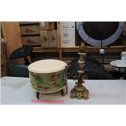 Vintage Lamp & Foot Stool