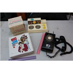 Vintage Misc: Fisher-Price Stove, Telephone, Big Jim Carry-All Case, Etc