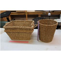 Wicker Baskets (2)& A Wicker Garbage Can