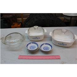 Casserole Dishes (3)(1 Pyrex)& Little Bowls/Saucers