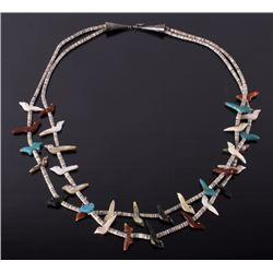 Navajo Multi-Stone Fetish Heshe Bead Necklace