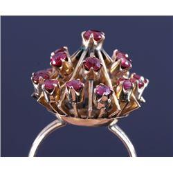 14K Gold Burmese Ruby Sputnik Design Cocktail Ring