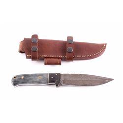 CFK Damascus Exotic Canel Bone Knife w/ Scabbard