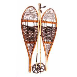 Antique L.L. Bean Wooden Snowshoes & Bamboo Poles