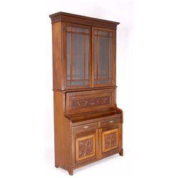 Raised Panel Carved Oak Secretary Desk
