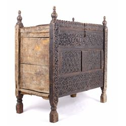 Antique Ornate Mexican Hand Carved Blanket Trunk