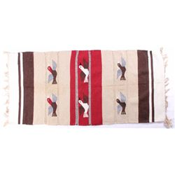 Zapotec Mexican Wool Rug With Birds