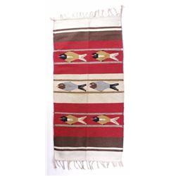 Wool Zapotec Pictorial Fish Runner Rug