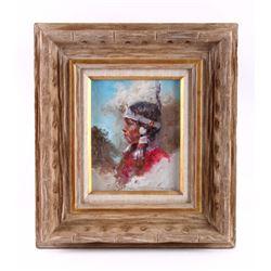 Original Crow Indian Dancer Framed Oil Painting
