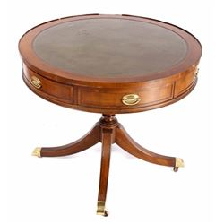 Early Duncan Phyfe Style Leather Top Round Table
