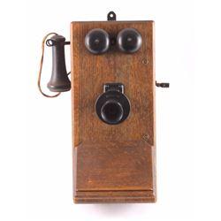 Antique Kellogg Oak Wall Telephone