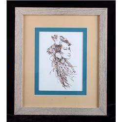 Charley Bear Original Framed Pen and Ink Drawing