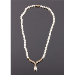 10K Gold Diamond and Pearl Necklace