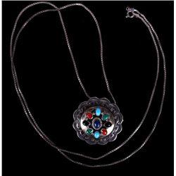 Navajo Multi-Stone Concho Pendant Necklace