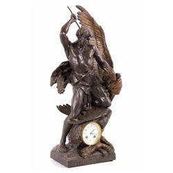 E.L. Picault Lutte Prehistorique Bronze Sculpture