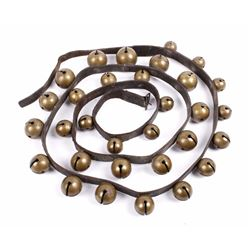 Large Strap of Antique Brass Sleigh Bells