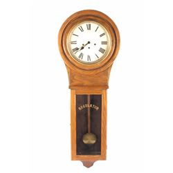 Early American Oak Regulator Wall Clock LARGE