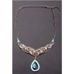 Signed Navajo Sterling & Turquoise, Coral Necklace