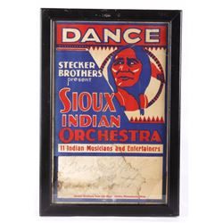 """DANCE"" Sioux Indian Orchestra Venue Poster"