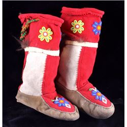 Crow Beaded High Top Moccasins 1920-1940