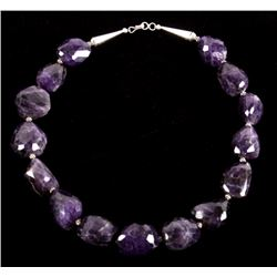 Necklace of Large Faceted Amethyst & Sterling