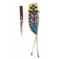 Cheyenne Fully Beaded Sheath & Trade Knife Modern