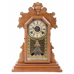 Walnut Pendulum Mantle Clock by E. Ingraham