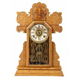 E. Ingraham CO. Pressed Oak Mantle Clock