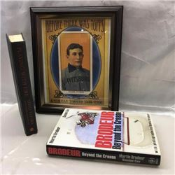 Hockey Books (2) & Baseball Print