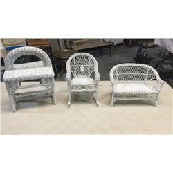 3 Pieces Of Wicker Doll Furniture