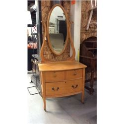 Low Boy Blonde Dresser With Mirror