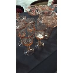 4 Glasses Made In France And Pink Pitcher