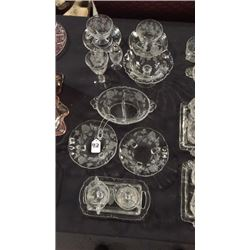 14pc Etched Clear Glass