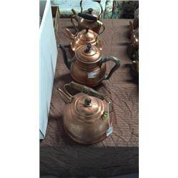 4 Copper Tea Pots