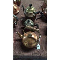3 Copper Tea Pots