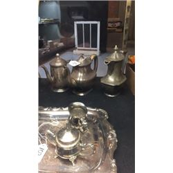 3 Silver Plate Tea Pots