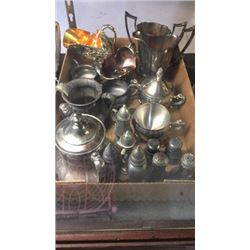 Box of Silver Plate Pieces