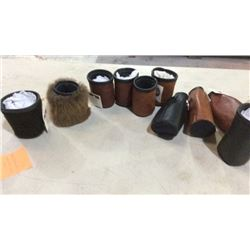 """Made in Montana"" fur and leather coozies"