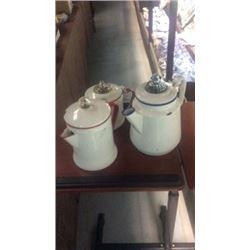 3 enamel coffee pots