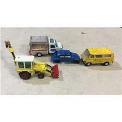 4 toy cars tonka, and tootsie toys