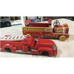 2 toy fire trucks