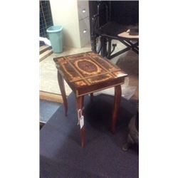 Wooden inlayed stool