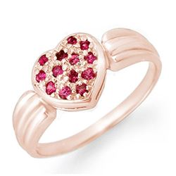 0.40 CTW Pink Sapphire Ring 18K Rose Gold - REF-38R2K - 13645
