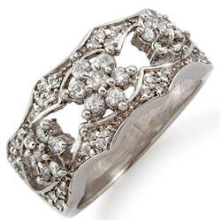 0.90 CTW Certified VS/SI Diamond Ring 14K White Gold - REF-74K4R - 11381