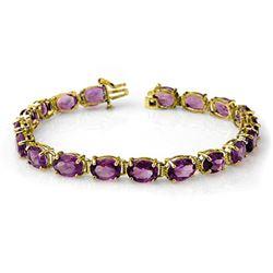 22.60 CTW Amethyst Bracelet 10K Yellow Gold - REF-57M6F - 14237