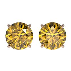 2.11 CTW Certified Intense Yellow SI Diamond Solitaire Stud Earrings 10K Rose Gold - REF-309H3W - 36