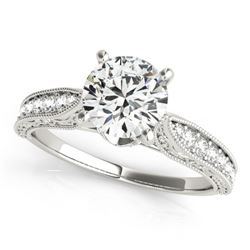0.75 CTW Certified VS/SI Diamond Solitaire Antique Ring 18K White Gold - REF-112X8T - 27351