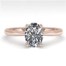 1 CTW Oval Cut VS/SI Diamond Engagement Designer Ring 18K Rose Gold - REF-280T3X - 32405