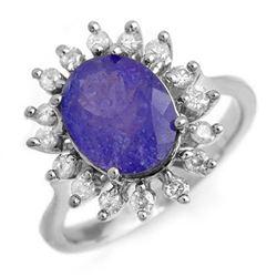 3.05 CTW Tanzanite & Diamond Ring 18K White Gold - REF-121H6W - 13802